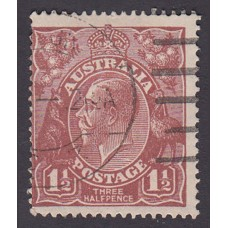Australian    King George V   1½d Penny Half Pence Brown   Single Crown WMK Plate Variety 11L55..