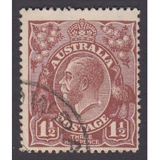 Australian    King George V   1½d Penny Half Pence Brown   Single Crown WMK Plate Variety 12L60..