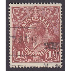 Australian    King George V   1½d Penny Half Pence Brown   Single Crown WMK Plate Variety 12L42..