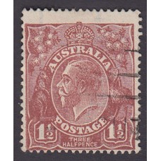 Australian    King George V   1½d Penny Half Pence Brown   Single Crown WMK Plate Variety 12L43..