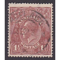 Australian    King George V   1½d Penny Half Pence Brown   Single Crown WMK Plate Variety 12L58..