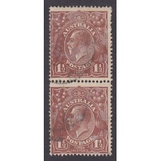 Australian    King George V   1½d Penny Half Pence Brown   Single Crown WMK  Vertical Pair 2nd State..