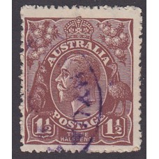 Australian    King George V   1½d Penny Half Pence Brown   Single Crown WMK  Plate Variety 8L59..