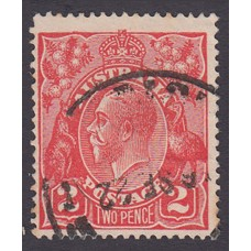 Australian    King George V    2d Red  Single Crown WMK Plate Variety 12R51..