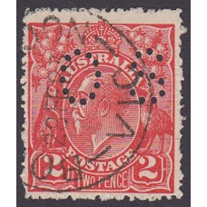 Australian    King George V    2d Red  Single Crown WMK Perf O.S. Plate Variety 12R30..