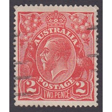 Australian    King George V    2d Red  Single Crown WMK Plate Variety 12L21..