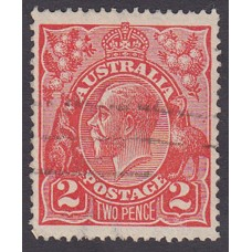 Australian    King George V    2d Red  Single Crown WMK Plate Variety 12L21