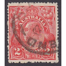 Australian    King George V    2d Red  Single Crown WMK Plate Variety 12R27..