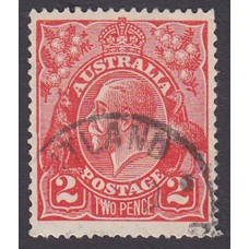 Australian    King George V    2d Red  Single Crown WMK Plate Variety 12R27