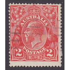 Australian    King George V    2d Red  Single Crown WMK Plate Variety 12R28..