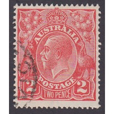 Australian    King George V    2d Red  Single Crown WMK Plate Variety 12R28