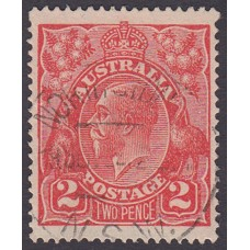 Australian    King George V    2d Red  Single Crown WMK Plate Variety 12L10