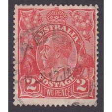 Australian    King George V    2d Red  Single Crown WMK Plate Variety 12L12..