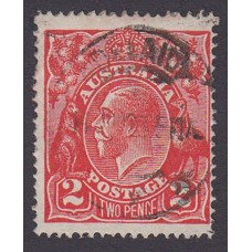 Australian    King George V    2d Red  Single Crown WMK Plate Variety 12L33..