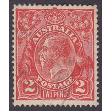 Australian    King George V    2d Red  Single Crown WMK Plate Variety 12L4..