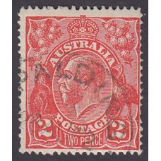Australian    King George V    2d Red  Single Crown WMK Plate Variety 12R230..