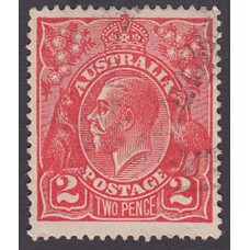 Australian    King George V    2d Red  Single Crown WMK Plate Variety 12R41..