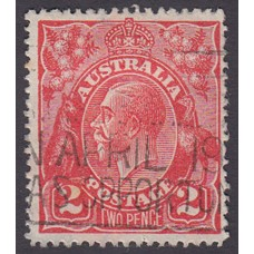 Australian    King George V    2d Red  Single Crown WMK Plate Variety 16R10..