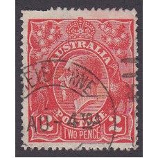 Australian    King George V    2d Red  Single Crown WMK Plate Variety 16R25..