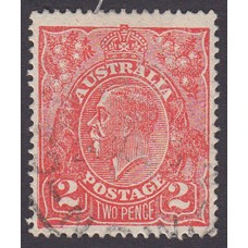 Australian    King George V    2d Red  Single Crown WMK 1st State Plate Variety 16L56
