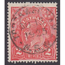 Australian    King George V    2d Red  Single Crown WMK 1st State Plate Variety 16L56..