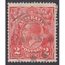 Australian    King George V    2d Red  Single Crown WMK Plate Variety 16R57..