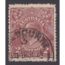 Australian    King George V    2d Brown   Single Crown WMK  Plate Variety 12L33
