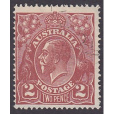Australian    King George V    2d Brown   Single Crown WMK  Plate Variety 12R57..