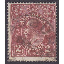 Australian    King George V    2d Brown   Single Crown WMK  Plate Variety 16L4..