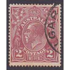 Australian    King George V    2d Brown   Single Crown WMK  Plate Variety 16L9..