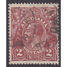 Australian    King George V    2d Brown   Single Crown WMK  Plate Variety 16L58..