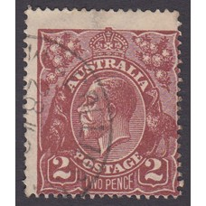 Australian    King George V    2d Brown   Single Crown WMK  Plate Variety 16L60..