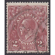Australian    King George V    2d Brown   Single Crown WMK  Plate Variety 16R10..