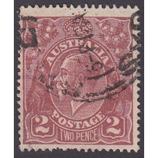 Australian    King George V    2d Brown   Single Crown WMK  Plate Variety 16R2..