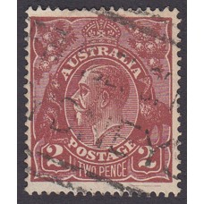 Australian    King George V    2d Brown   Single Crown WMK  Plate Variety 16R2