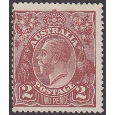 Australian    King George V    2d Brown   Single Crown WMK  2nd State Plate Variety 16R20..