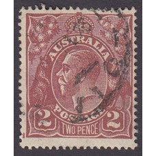 Australian    King George V    2d Brown   Single Crown WMK  Plate Variety 16R4..