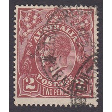 Australian    King George V    2d Brown   Single Crown WMK  Plate Variety 16R50..