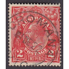 Australian    King George V    2d Red  Single Crown WMK Plate Variety 12L30..