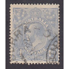 Australian    King George V    4d Blue   Single Crown WMK  Plate Variety 2R6..