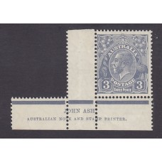 Australian    King George V    3d Blue    Small Multiple Watermark Perf 13 ½ x 12½  Crown WMK  Die 2..