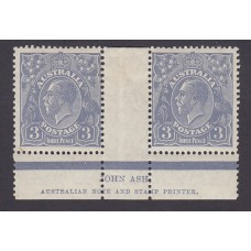 Australian    King George V    3d Blue    Small Multiple Watermark Perf 13 ½ x 12½  Crown WMK  Die 1..