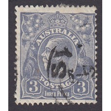 Australian    King George V    3d Blue    Small Multiple Perf 13 ½ x 12½  Crown WMK  Plate Variety 3L22