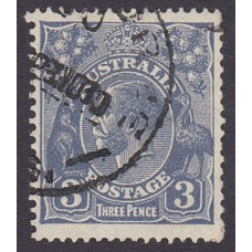 Australian    King George V    3d Blue    Small Multiple Perf 13 ½ x 12½  Crown WMK  Plate Variety 5..