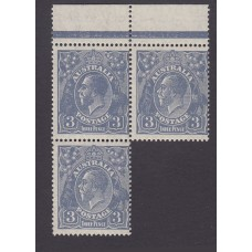 Australian    King George V    3d Blue    Small Multiple Perf 14  Crown WMK  Block 3 Plate Variety 4..