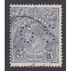 Australian    King George V    3d Blue    Small Multiple Perf 14  Crown INVERTED WMK  Perf O.S. Type..