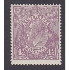 Australian    King George V    4½d Violet   Small Multi WMK Perf 14 Plate Variety 1R21..